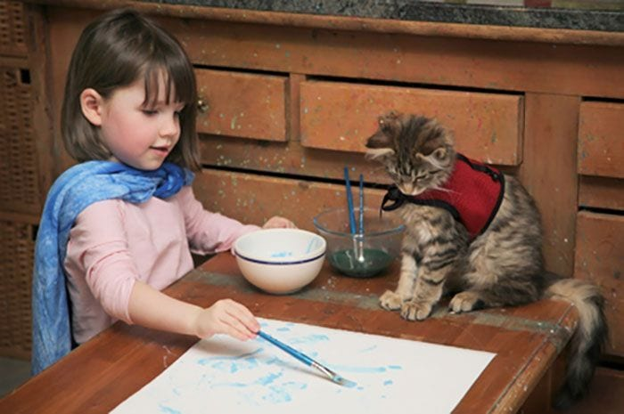 Pintando con su gato