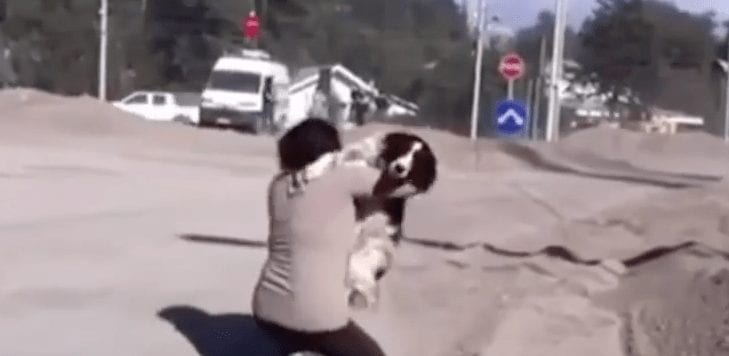 mujer encuentra perro