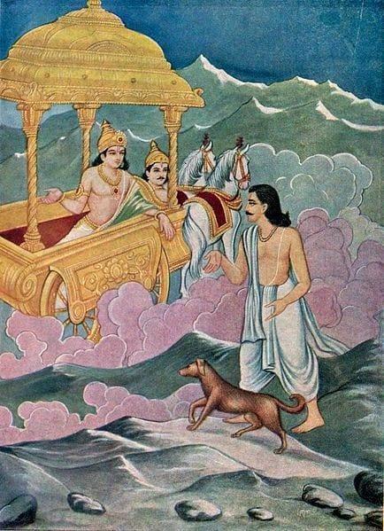 Yudhisthira y su perro ante Indra, dios de los cielos.