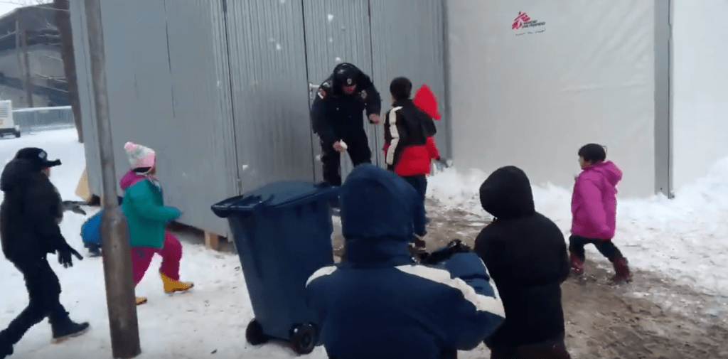 refugiados nieve