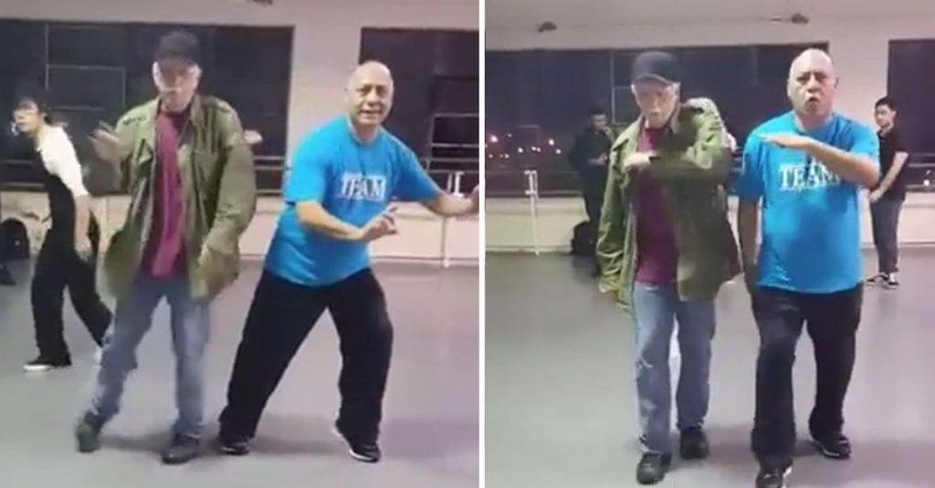abuelos bailando robot hiphop