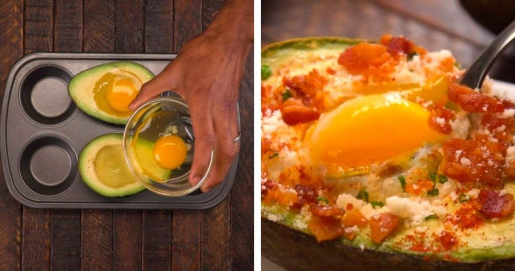 aguacate relleno huevo y bacon