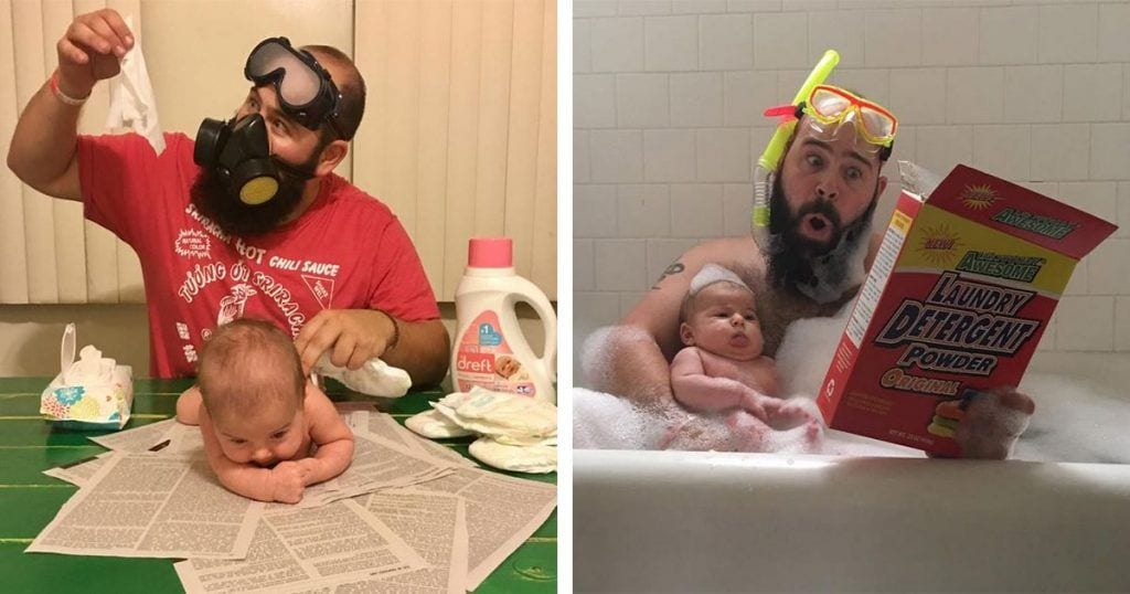 Las 12 divertidas fotos de este padre junto a su hija de 9 meses