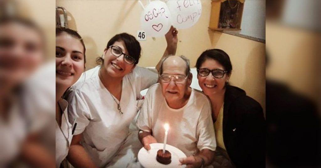Anciano finge cefalea para no estar solo en su cumpleaños