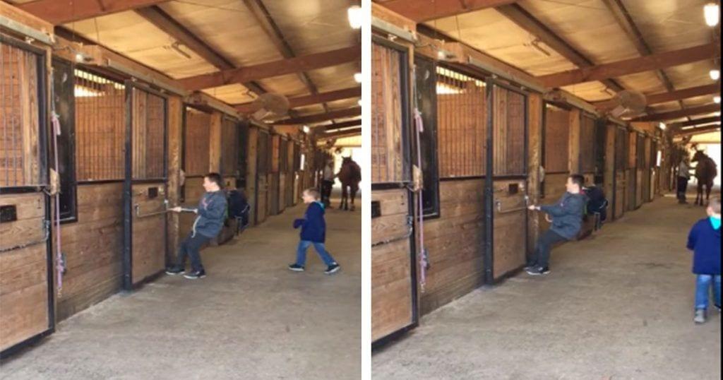 Un niño intenta sacar a pasear a un pony pero no tiene fuerza